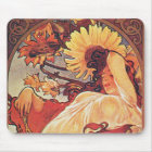 Alphonse Mucha Sunflower Mouse Mat