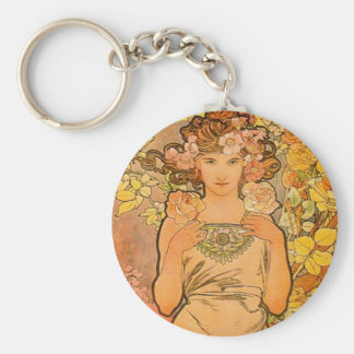 Alphonse Mucha The Rose Key Chain Key Chain