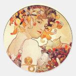 Alphonse Mucha Vintage Art Round Sticker