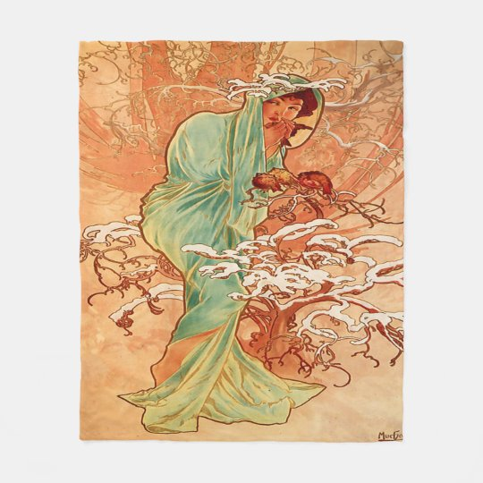 Alphonse Mucha, Vintage Beauty, Custom Fleece Blanket