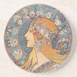 """Alphonse Mucha, """"Zodiac"""" Coaster"""