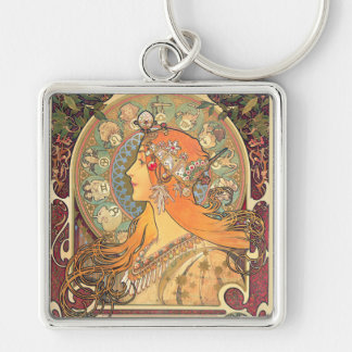 Alphonse Mucha - Zodiac Silver-Colored Square Key Ring