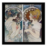 Alphonse Mucha's 2 Faces Vintage Poster