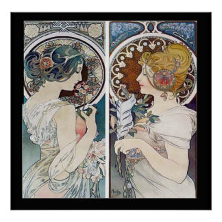 Alphonse Mucha's 2 Faces Vintage Poster Print