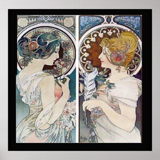 Alphonse Mucha's 2 Faces Vintage Poster Print