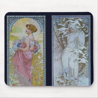"Alphonse Mucha's ""Summer and Winter"" Mouse Mat"