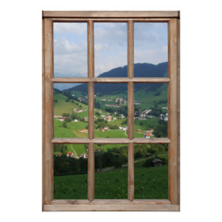 Alpine Foothills View from a Window Poster