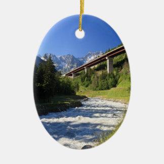 Alpine highway ceramic oval decoration