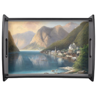Alpine Lake Boat Town Mountains Serving Tray