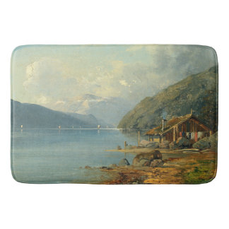 Alpine Lake Cabin Sailboat Alps Mountains Bath Mat
