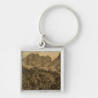 Alpine Lake, Sierra Nevada Silver-Colored Square Key Ring