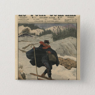 Alpine postmen using ski 15 cm square badge