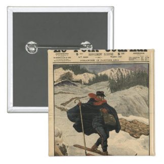 Alpine postmen using ski 15 cm square badge