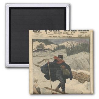 Alpine postmen using ski square magnet