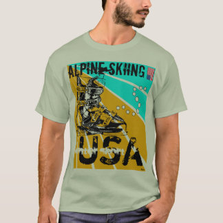 Alpine Ski Winter Sport USA Ski Boot T-Shirt