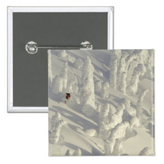 Alpine Skier in thick snowghosts at Big 15 Cm Square Badge