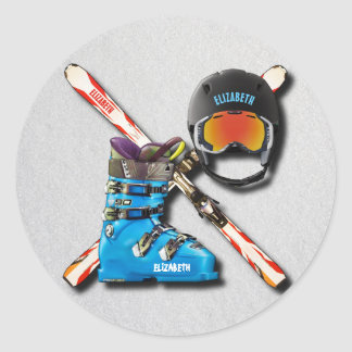 Alpine Skiing Boots Helmet Googles With Your Name Round Sticker