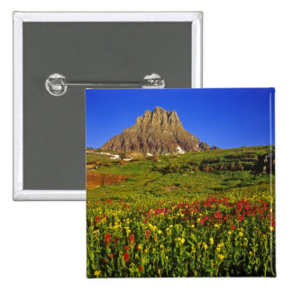 Alpine wildflowers at Logan Pass in Glacier 15 Cm Square Badge