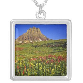Alpine wildflowers at Logan Pass in Glacier Square Pendant Necklace