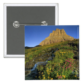 Alpine wildflowers & Mt Clements at Logan Pass 15 Cm Square Badge