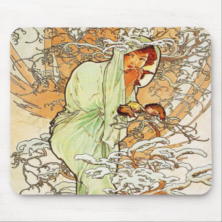 Alpohnse Mucha Winter Mouse Pad