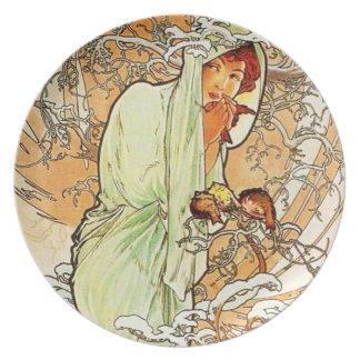 Alpohnse Mucha Winter Plate