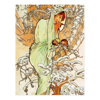Alpohnse Mucha Winter Postcard