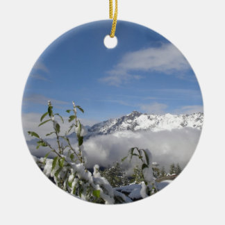 alps in winter christmas ornament