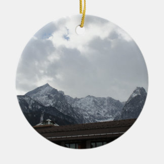 Alps View Double-Sided Ceramic Round Christmas Ornament