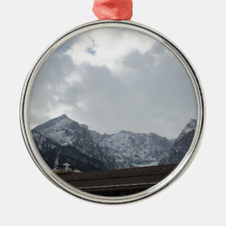 Alps View Silver-Colored Round Decoration