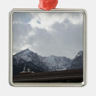 Alps View Silver-Colored Square Decoration