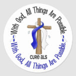 ALS With God Cross Sticker