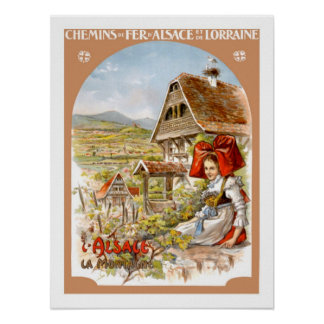 Alsace France Vintage Travel Poster