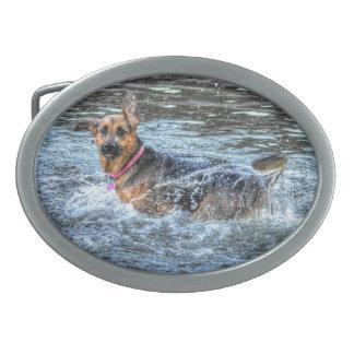Alsatian German Shepherd 2 Dog-lover Gift Oval Belt Buckle
