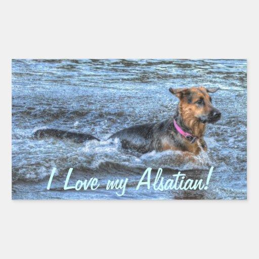 Alsatian German Shepherd 4 Dog-lover Gift Rectangular Stickers