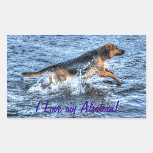 Alsatian German Shepherd 5 Dog-lover Gift Rectangle Stickers