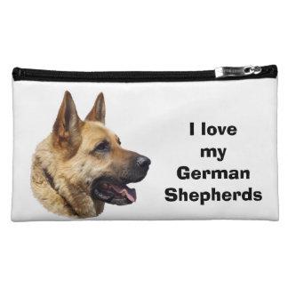 Alsatian German shepherd dog portrait Makeup Bags