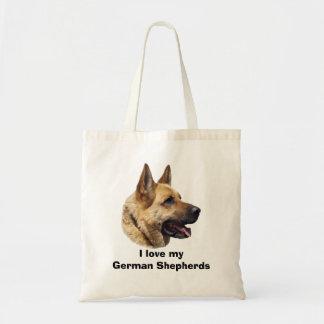 Alsatian German shepherd dog portrait Budget Tote Bag