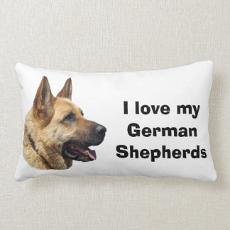 Alsatian German shepherd dog portrait Lumbar Cushion