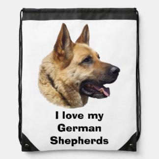 Alsatian German shepherd dog portrait Drawstring Backpacks