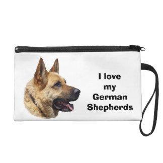 Alsatian German shepherd dog portrait Wristlet Purse