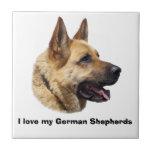 Alsatian German shepherd portrait Small Square Tile
