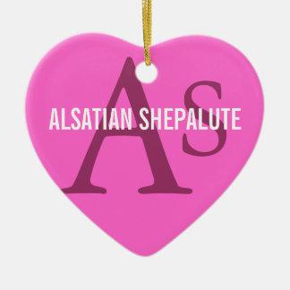 Alsatian Shepalute Breed Monogram Ceramic Heart Decoration