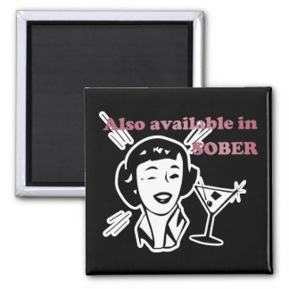 Also Available in SOBER - Drinking Retro Lady Square Magnet