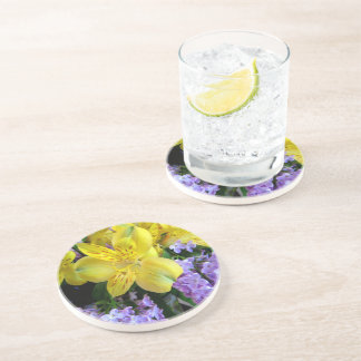 Alstroemeria and  Lilacs Flowers Drink Coasters