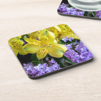 Alstroemeria and  Lilacs Flowers Beverage Coaster