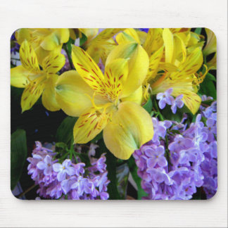 Alstroemeria and  Lilacs Flowers Mouse Pad