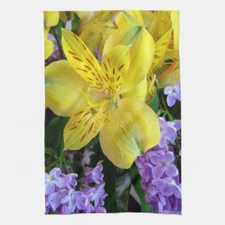 Alstroemeria and  Lilacs Flowers Tea Towel