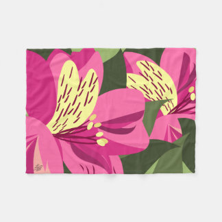 Alstroemeria Flowers Fleece Blanket