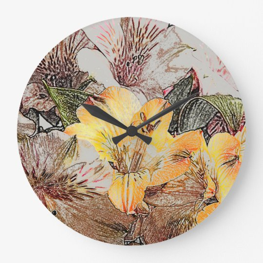 Alstroemeria Flowers Wall Clock